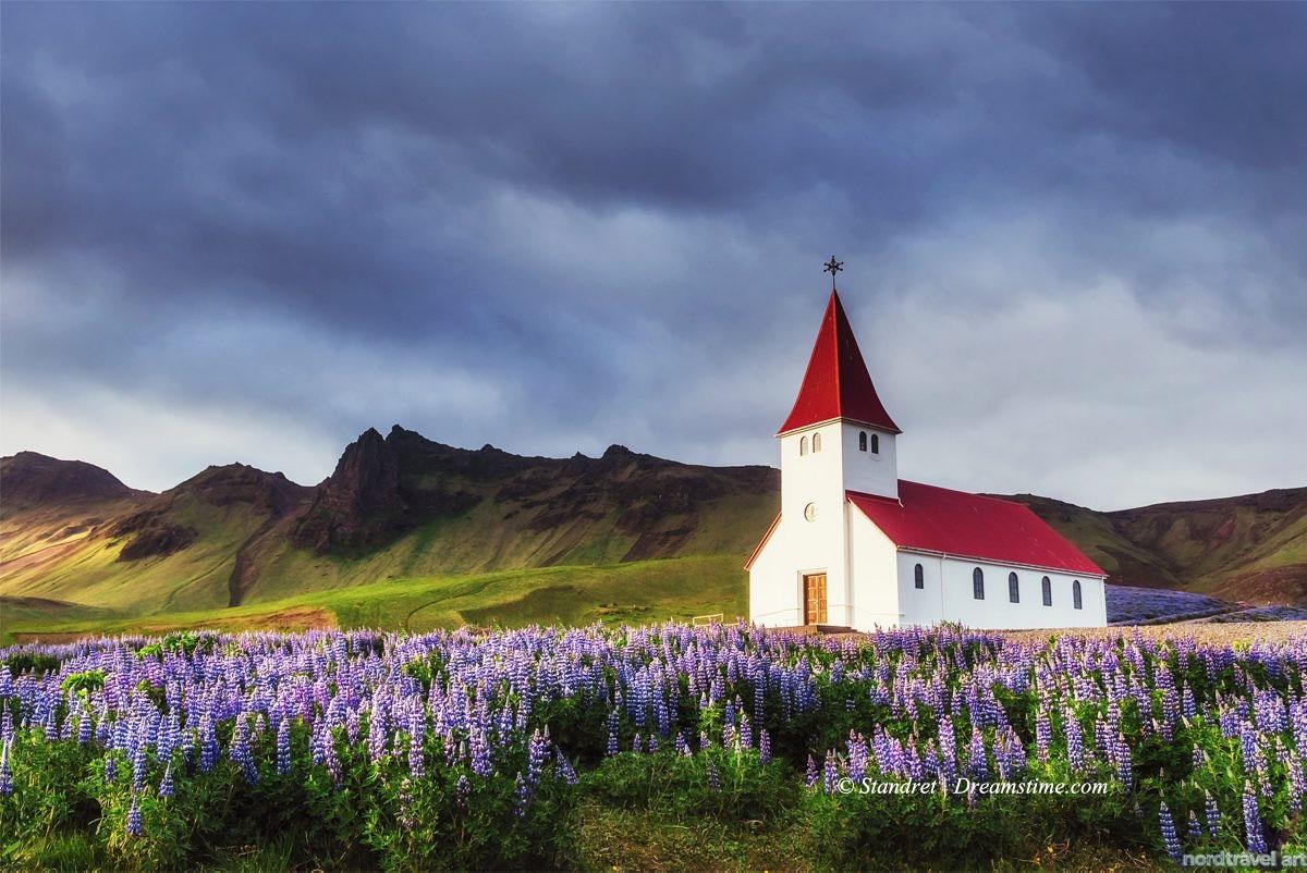Исландия. Лютеранская церковь в деревне Вик