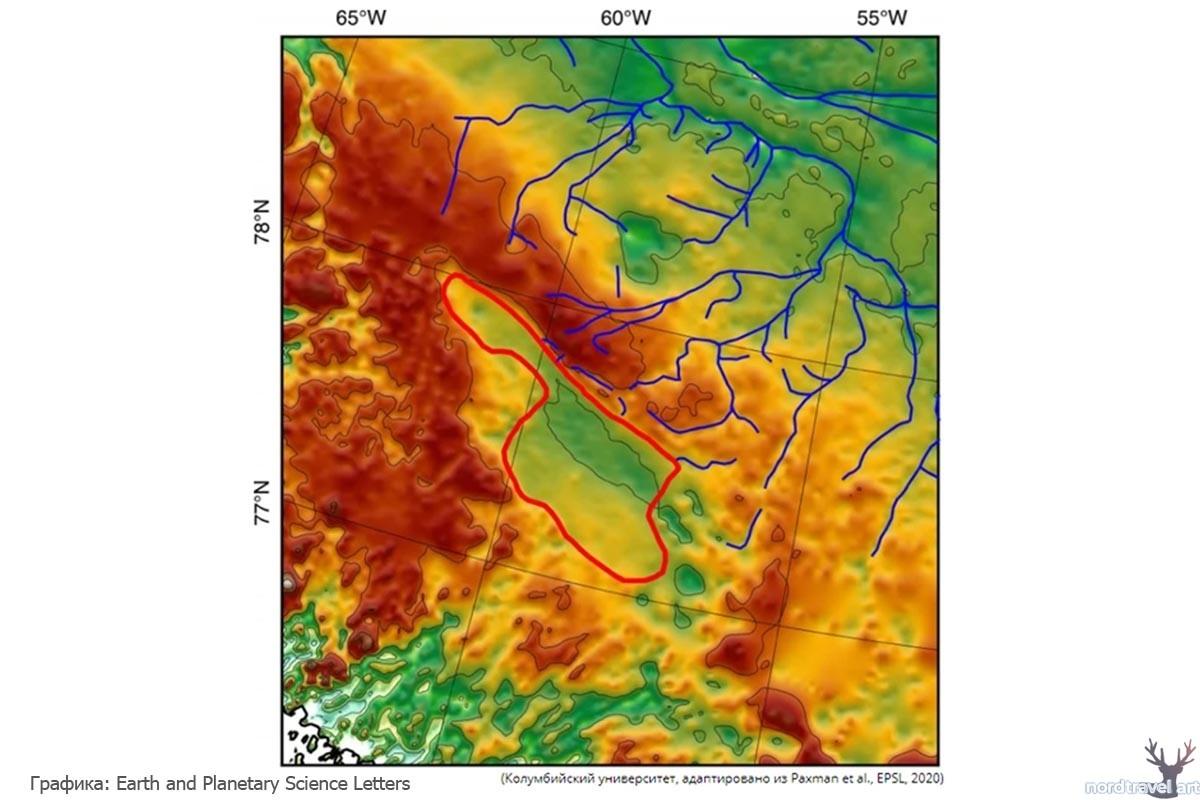 Карта дна реликтового озера в Гренландии.