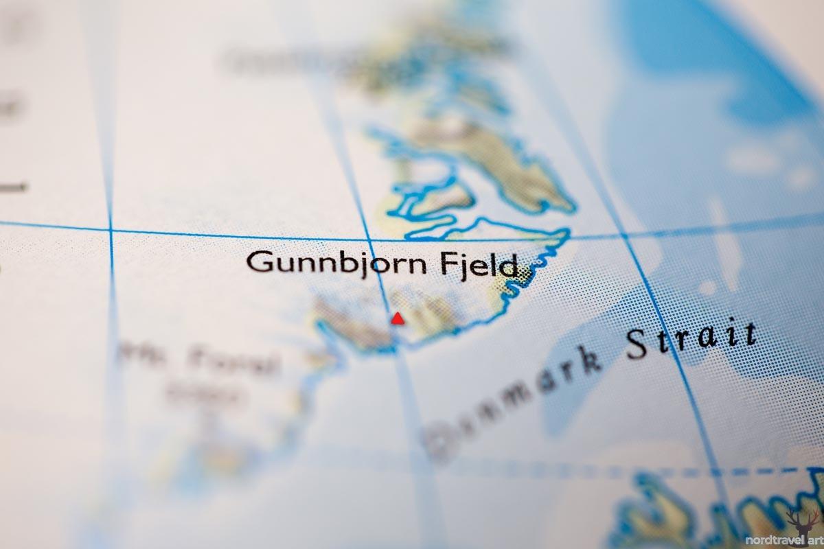 Гора Гунбьёрн. Схематичное изображение на карте Гренландии